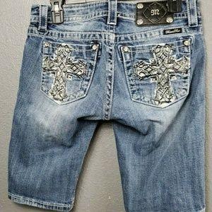 Miss Me Bermuda Shorts Sz 28 Bling Pockets Jean